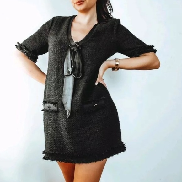 dd2f06e8860f Zara Dresses | Woman Nwt Black Tweed Dress With Bow Xs S | Poshmark